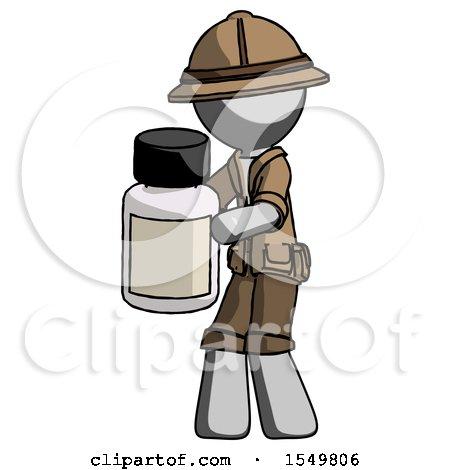 Gray Explorer Ranger Man Holding White Medicine Bottle by Leo Blanchette