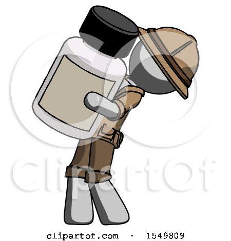 Gray Explorer Ranger Man Holding Large White Medicine Bottle by Leo Blanchette