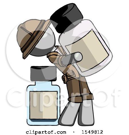 Gray Explorer Ranger Man Holding Large White Medicine Bottle with Bottle in Background by Leo Blanchette