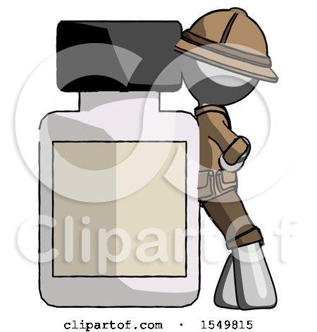 Gray Explorer Ranger Man Leaning Against Large Medicine Bottle by Leo Blanchette