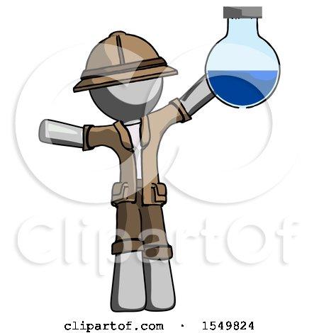 Gray Explorer Ranger Man Holding Large Round Flask or Beaker by Leo Blanchette