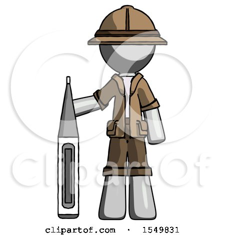 Gray Explorer Ranger Man Standing with Large Thermometer by Leo Blanchette