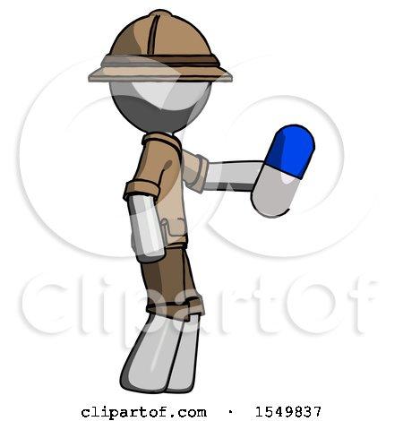 Gray Explorer Ranger Man Holding Blue Pill Walking to Right by Leo Blanchette