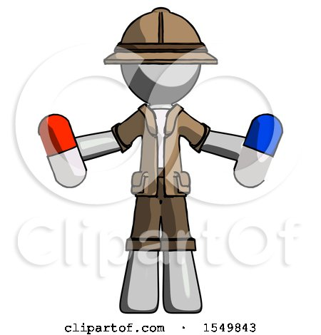 Gray Explorer Ranger Man Holding a Red Pill and Blue Pill by Leo Blanchette