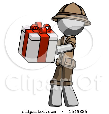 Gray Explorer Ranger Man Presenting a Present with Large Red Bow on It by Leo Blanchette