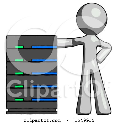Gray Design Mascot Man with Server Rack Leaning Confidently Against It by Leo Blanchette