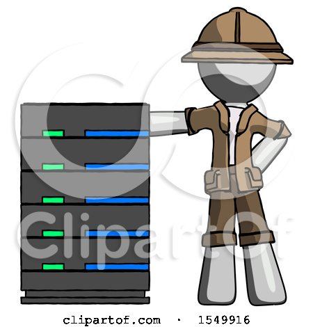 Gray Explorer Ranger Man with Server Rack Leaning Confidently Against It by Leo Blanchette