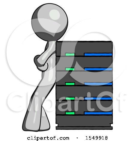 Gray Design Mascot Man Resting Against Server Rack by Leo Blanchette