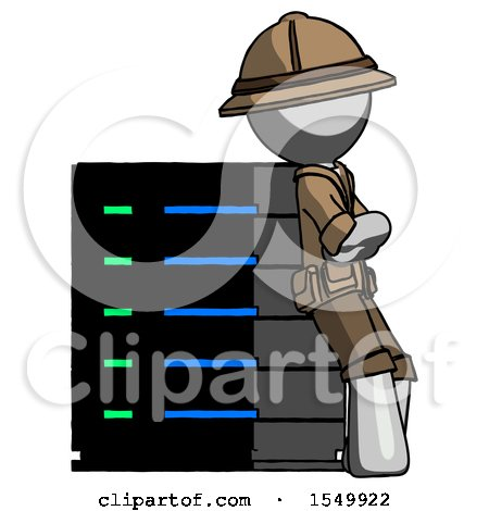 Gray Explorer Ranger Man Resting Against Server Rack Viewed at Angle by Leo Blanchette