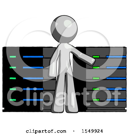 Gray Design Mascot Man with Server Racks, in Front of Two Networked Systems by Leo Blanchette