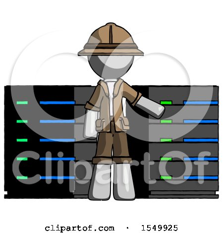 Gray Explorer Ranger Man with Server Racks, in Front of Two Networked Systems by Leo Blanchette