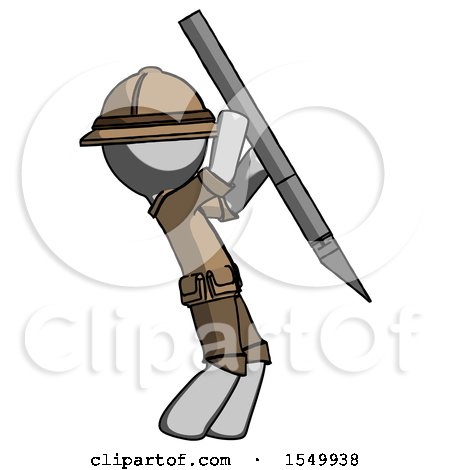 Gray Explorer Ranger Man Stabbing or Cutting with Scalpel by Leo Blanchette