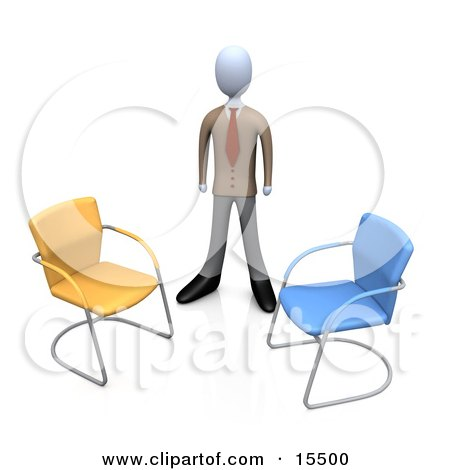 Businessman In A Suit, Standing Between An Orange And A Blue Chair, Symbolizing Two Different Job Opportunities That He Must Choose Between Clipart Illustration Image by 3poD