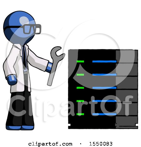 Blue Doctor Scientist Man Server Administrator Doing Repairs by Leo Blanchette