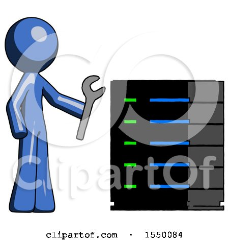 Blue Design Mascot Man Server Administrator Doing Repairs by Leo Blanchette