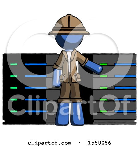 Blue Explorer Ranger Man with Server Racks, in Front of Two Networked Systems by Leo Blanchette