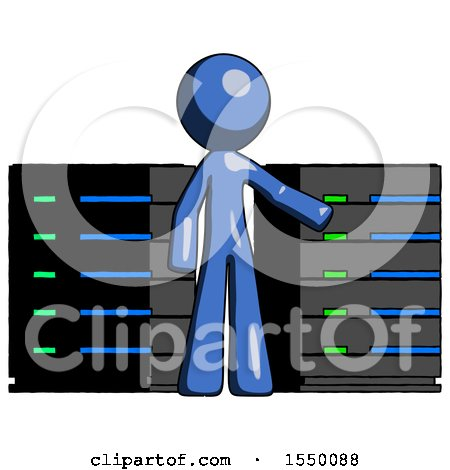 Blue Design Mascot Man with Server Racks, in Front of Two Networked Systems by Leo Blanchette