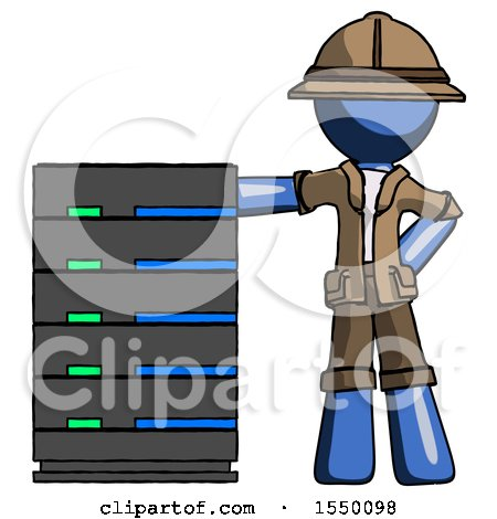 Blue Explorer Ranger Man with Server Rack Leaning Confidently Against It by Leo Blanchette