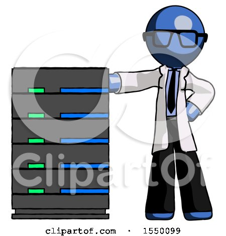 Blue Doctor Scientist Man with Server Rack Leaning Confidently Against It by Leo Blanchette