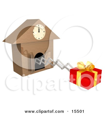Gift Wrapped In Red Paper And A Gold Bow And Ribbon, Popping Out Of A Cuckoo Clock As A Reminder To Buy A Birthday Or Christmas Present Clipart Illustration Image by 3poD
