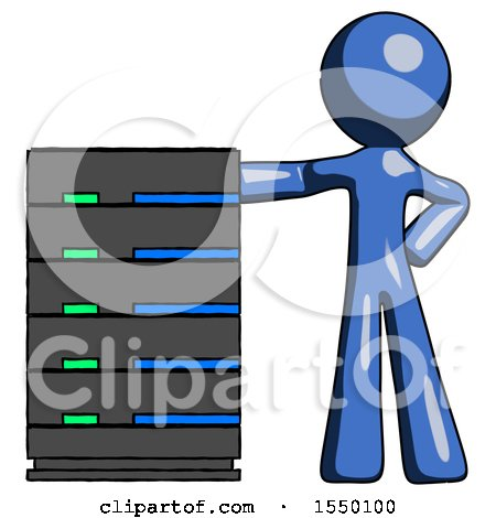 Blue Design Mascot Man with Server Rack Leaning Confidently Against It by Leo Blanchette