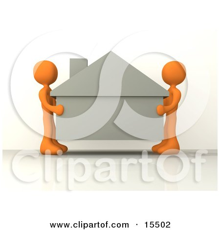 Two Orange People Carefully Moving A House To A New Location Clipart Illustration Image by 3poD