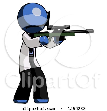 Blue Doctor Scientist Man Shooting Sniper Rifle by Leo Blanchette