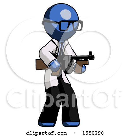 Blue Doctor Scientist Man Tommy Gun Gangster Shooting Pose by Leo Blanchette