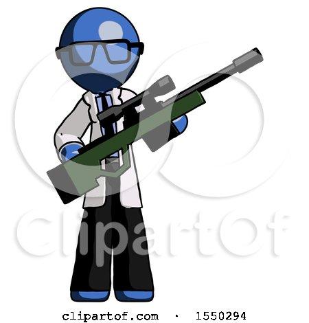 Blue Doctor Scientist Man Holding Sniper Rifle Gun by Leo Blanchette