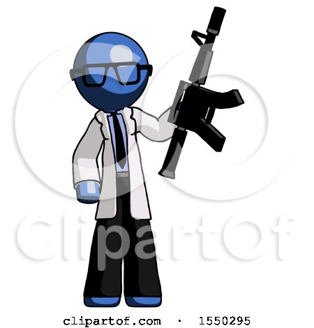 Blue Doctor Scientist Man Holding Automatic Gun by Leo Blanchette