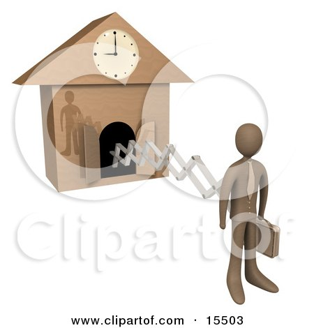 Brown Businesman In A Suit, Holding A Briefcase And Sticking Out From An Arm Of A Cuckoo Clock Upon The Hour Of 9am, Symbolising The Start Of A New Work Day, Or Punctuality  Posters, Art Prints
