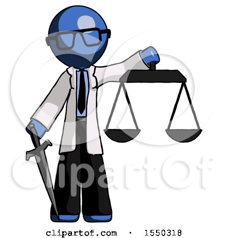 Blue Doctor Scientist Man Justice Concept with Scales and Sword, Justicia Derived by Leo Blanchette
