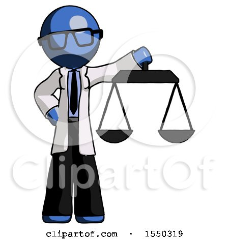 Blue Doctor Scientist Man Holding Scales of Justice by Leo Blanchette