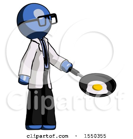 Blue Doctor Scientist Man Frying Egg in Pan or Wok Facing Right by Leo Blanchette
