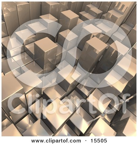 Chrome Abstract Background With Cubes Resembling Skyscrapers, Some Standing Taller Than Others  Posters, Art Prints