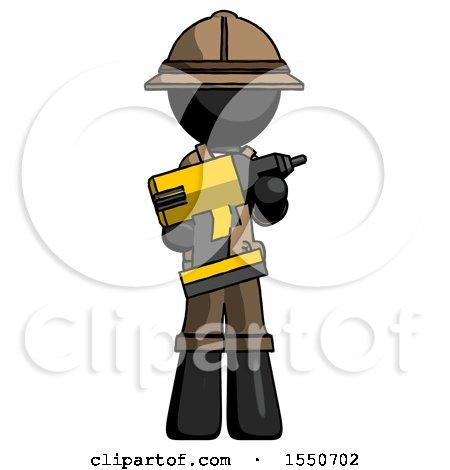 Black Explorer Ranger Man Holding Large Drill by Leo Blanchette