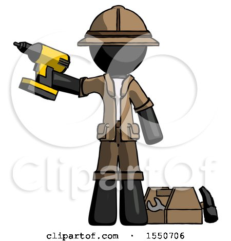 Black Explorer Ranger Man Holding Drill Ready to Work, Toolchest and Tools to Right by Leo Blanchette