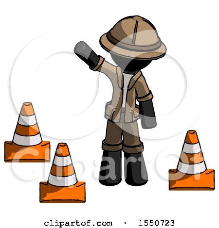 Black Explorer Ranger Man Standing by Traffic Cones Waving by Leo Blanchette