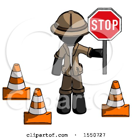 Black Explorer Ranger Man Holding Stop Sign by Traffic Cones Under Construction Concept by Leo Blanchette