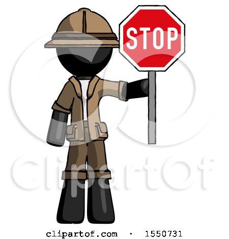 Black Explorer Ranger Man Holding Stop Sign by Leo Blanchette
