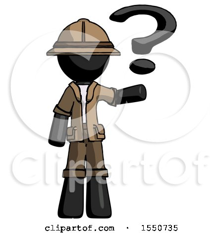 Black Explorer Ranger Man Holding Question Mark to Right by Leo Blanchette