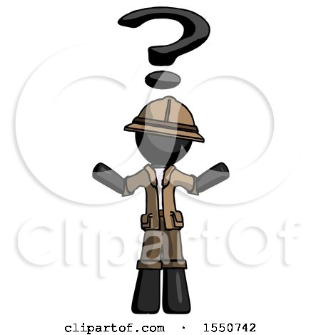 Black Explorer Ranger Man with Question Mark Above Head, Confused by Leo Blanchette