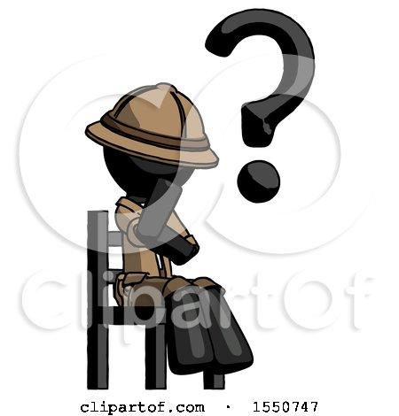 Black Explorer Ranger Man Question Mark Concept, Sitting on Chair Thinking by Leo Blanchette