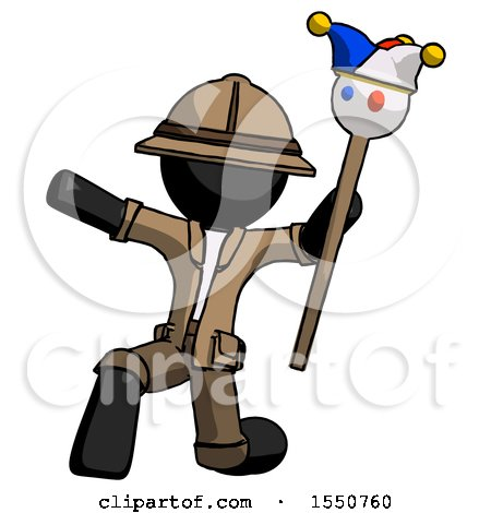 Black Explorer Ranger Man Holding Jester Staff Posing Charismatically by Leo Blanchette