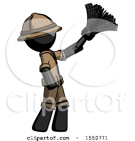 Black Explorer Ranger Man Dusting with Feather Duster Upwards by Leo Blanchette