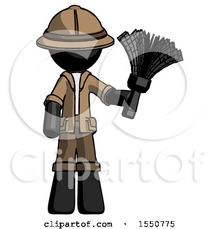 Black Explorer Ranger Man Holding Feather Duster Facing Forward by Leo Blanchette