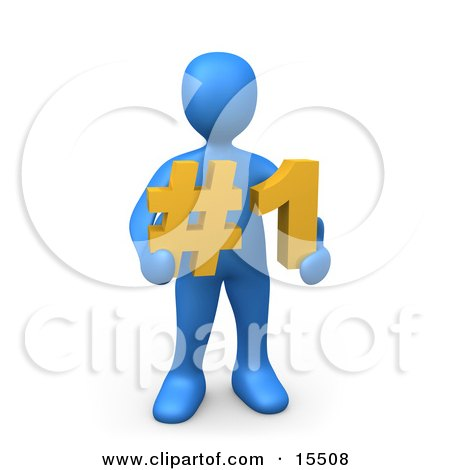 Blue Person Holding A Number One Sign Clipart Illustration Image by 3poD