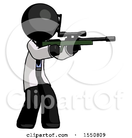 Black Doctor Scientist Man Shooting Sniper Rifle by Leo Blanchette