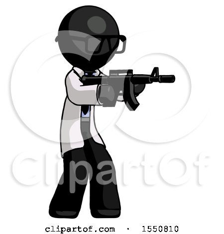 Black Doctor Scientist Man Shooting Automatic Assault Weapon by Leo Blanchette