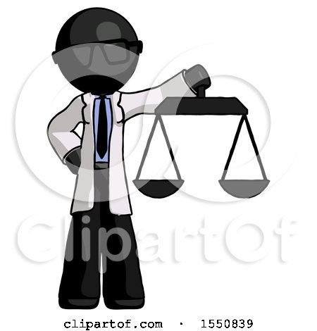 Black Doctor Scientist Man Holding Scales of Justice by Leo Blanchette